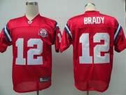 NFL New England Patriots 12 Tom Brady red Jerseys